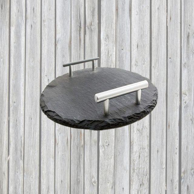 Schiefer Buffet-Platte, Servierplatte, Schieferplatte, Käseplatte 30 cm rund mit Griff naturbelassen